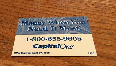 Vintage Money When You Need It Most Capital One 1998 Bank Banking Rare Magnet