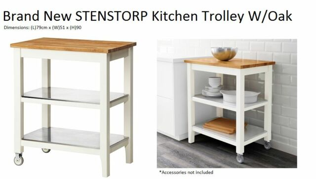 Brand New Ikea Stenstorp Kitchen Trolley White Oak Kitchen Table Bench