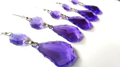 5 Violet Asfour 38mm French Cut Chandelier Crystals Prisms Lead Crystal