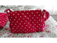 CATH KIDSTON RED BUTTON SPOT BABY CHANGING BAG, CHANGING MAT & BOTTLE HOLDER