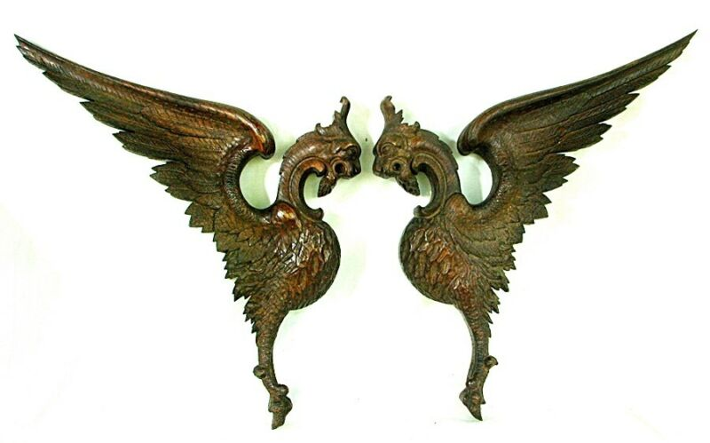 ANTIQUE CARVED DRAGON PHOENIX PEDIMENT FRAGMENTS *OAK c.1870