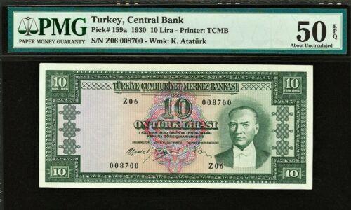 Turkey 10 Lira 1930 ND (1951-60) PICK-159a About UNC PMG 50 EPQ