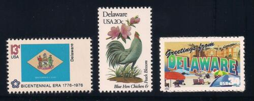 DELAWARE - STATE FLAG, BIRD, FLOWER - SET OF 3 U.S. STAMPS - MINT CONDITION