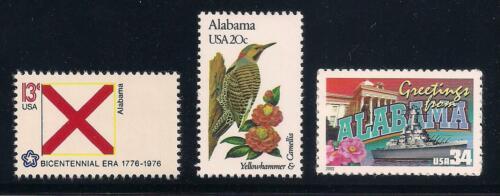 ALABAMA - STATE FLAG, BIRD, FLOWER - SET OF 3 U.S. STAMPS - MINT CONDITION
