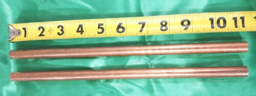 "1/2"" COPPER SOLID ROUND ROD (2 Pieces) C110 11.2"" Long  New Lathe Stock .500"""