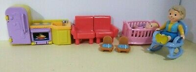 Fisher Price My First Dollhouse Kitchen, Baby w Crib Rocking Chair, Grandmother