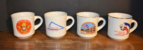 Lot of 4 VTG BOY SCOUTS OF AMERICA COFFEE MUGS 1980s The Adventure Begins