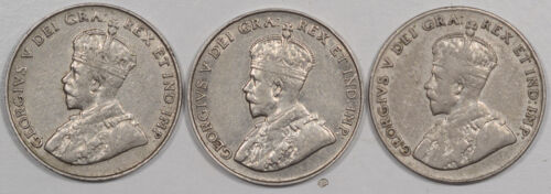 1922 1923 1928 5 CENT CANADA LOT OF 3 - HIGH GRADE EXAMPLES