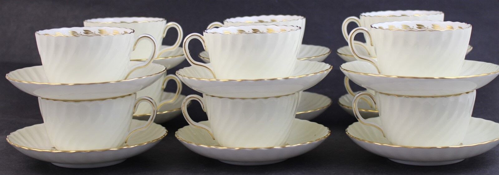 - 2 Minton China Cups and Saucers Cheviot Gold