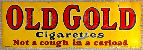 """Vintage Original Old Gold Cigarettes Double Sided Tin Litho Sign 30"""" x 10"""""""