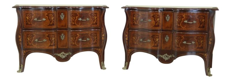 L32376EC/77EC: Stunning Pair Marquetry Inlaid French Commode Chests