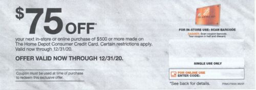 Home Depot $75 Off in-store/online purchase of $500 or more Now through 12/31/20