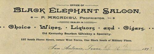 1893 BLACK ELEPHANT SALOON Letterhead San Antonio Texas