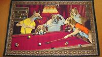 Tapisserie Murale / Wall-Hanging Tapestry of Dogs Shooting Pool