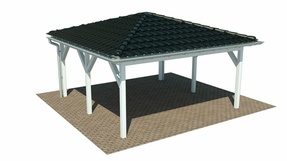 walmdach carport 600 x 600 cm doppelcarport mit walm design carports ab werk eur. Black Bedroom Furniture Sets. Home Design Ideas