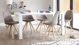 Brand New Danetti Ida Comfort Seat Taupe Dining Chair with Trendy Solid Beech Legs (2 available)