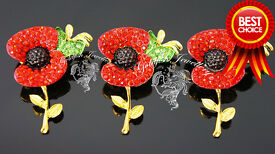 Red Poppy Brooch, Gold or Silver alloy with Red & Green Crystals, Remembrance Day. Wholesale.