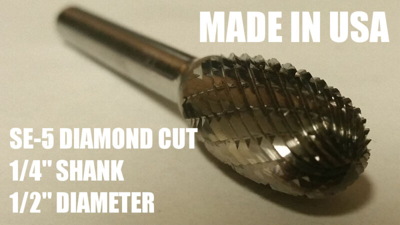 "SE5D Oval Shape Tungsten Carbide Burr Bur Cutting Tool Die Grinder Bit 1/4"" NEW"