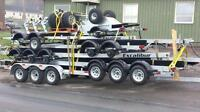 boat hauling on hydraulic trailer no crane needed