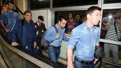 Xavi Hernandez FC Barcelona Barca Worn Team Travel Jeans - Game Match Used - -