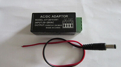 24VAC To 12VDC AC To DC Convertor For CCTV Camera with 12V DC Power Pigtail