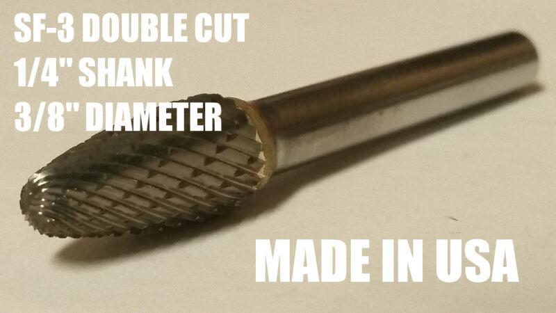 "SF3D Tree Shape Tungsten Carbide Burr Bur Cutting Tool Die Grinder Bit 1/4"" NEW"