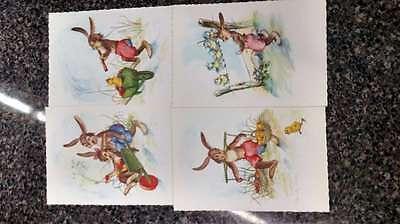 Group of 8 Dressed Bunny Rabbits on Oversize Vintage Postcards L1143