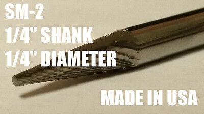Sm2d Pointed Cone Shape Carbide Burr Bur Cutting Tool Die Grinder Bit 14 New