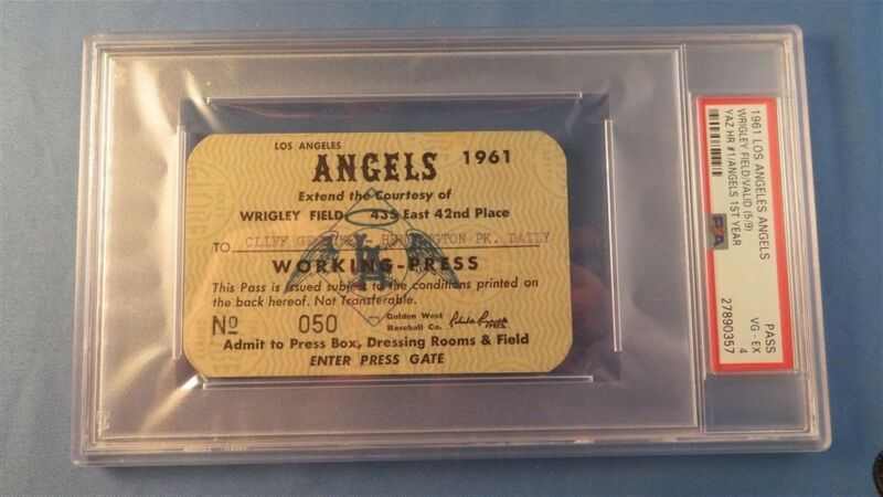 1961 Boston Red Sox Pass Ticket Carl Yastrzemski  First Hr At Los Angles Angels