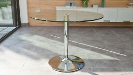 Glass round table, 110cm diameter, Danetti, hardly used, immaculate