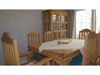 Dining table, 6 chairs, glass display cabinet, 2 drawer chests, rustic mexican pine, Great Value!