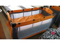 TRAVEL COT WITH NEW FOAM MATTRESS, can sell separately