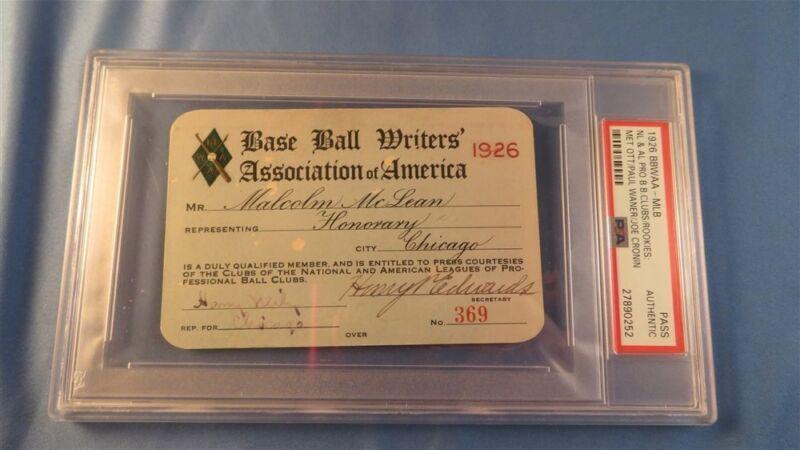 1926 Mel Ott/paul Waner/joe Cronin Debut/first Hit Ticket  Pass Psa Ruth Pennant