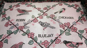 Woven Cotton TAPESTRY Throw BLANKET, Birds (Blue Jay, Cardinal)