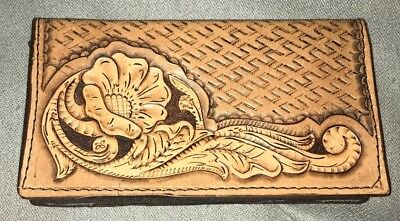 Hand tooled Leather check book cover. Flower design.