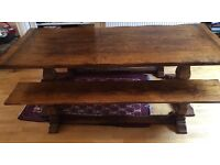 Beautiful large hand made solid oak dinning table with 2 benches