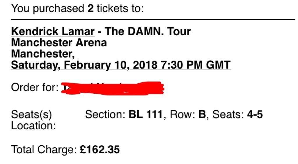 Kendrick Lamar x 2 tickets @ Manchester arena