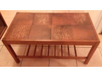 Dark brown wooden coffee table 33.5in x 17.5 in x 16in