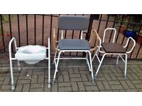 2 Disability shower seats with hand grips and mobility toilet seat frame support.
