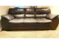 3 seater genuine leather sofa with footstool DELIVERY INCLUDED
