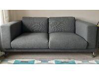 NOCKEBY 2 seater sofas, dark grey, 1 year old, hardly used