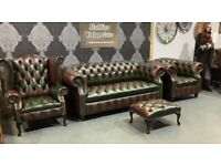NEW Chesterfield Suite 3 Seater Sofa, Club & Wing Chairs, Footstool Brown Green Leather UK Delivery