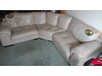 Curved Santiago Ivory Leather Sofa with Dark Wood Feet