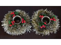2 Christmas Candlestick Holders