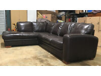 Brown Italian leather corner sofa DELIVERY AVAILABLE