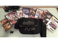 Sony PSP pristine, 9 games, case, memory stick