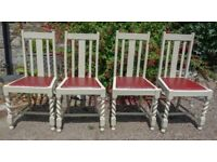 4 vintage dining chairs painted in Farrow and Ball 'Old White'.