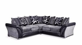 Sienna 3&2 or Corner Luxury Chenille and Bonded Leather Fabric Sofa Suite **£399 Free Delivery!!**