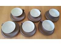 6 Denby Cinnamon teacups & saucers