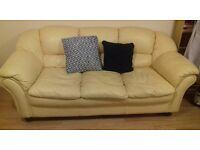 yellow leather sofa (3 seater)